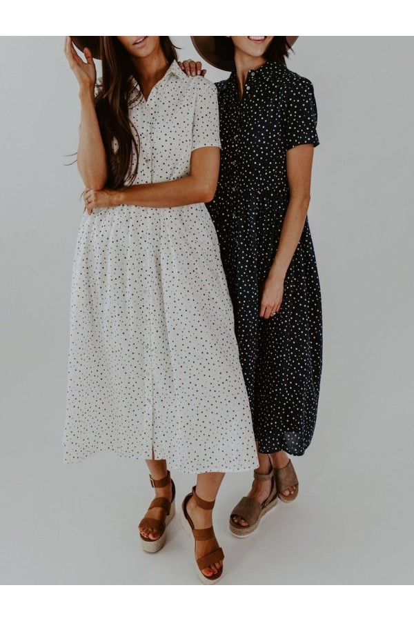 Cute Spotted Shirt Collar Midi Dress