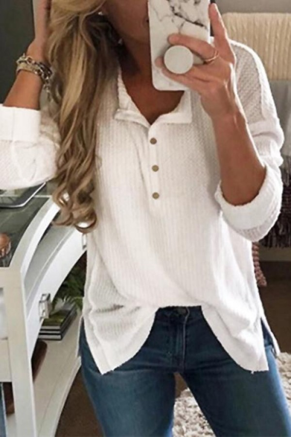 Simple Buttons Decorative White Tshirt