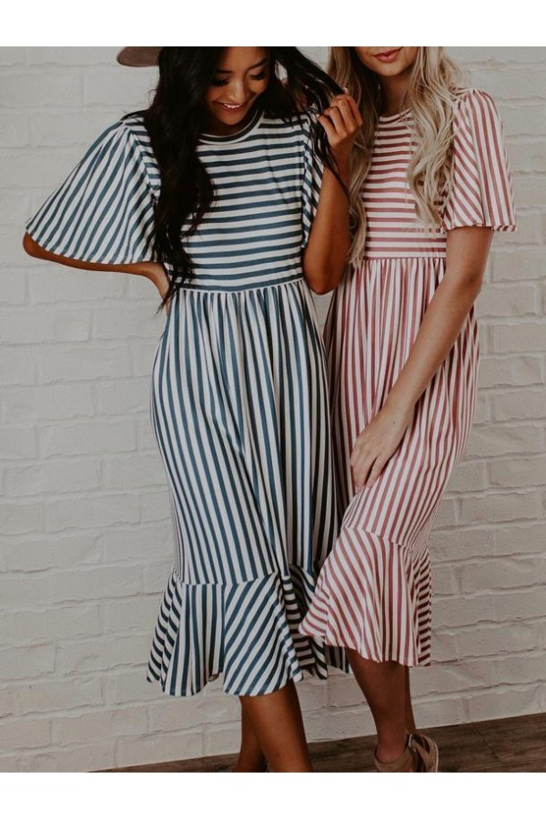 SUMMER CUTE STRIPED MIDI DRESS