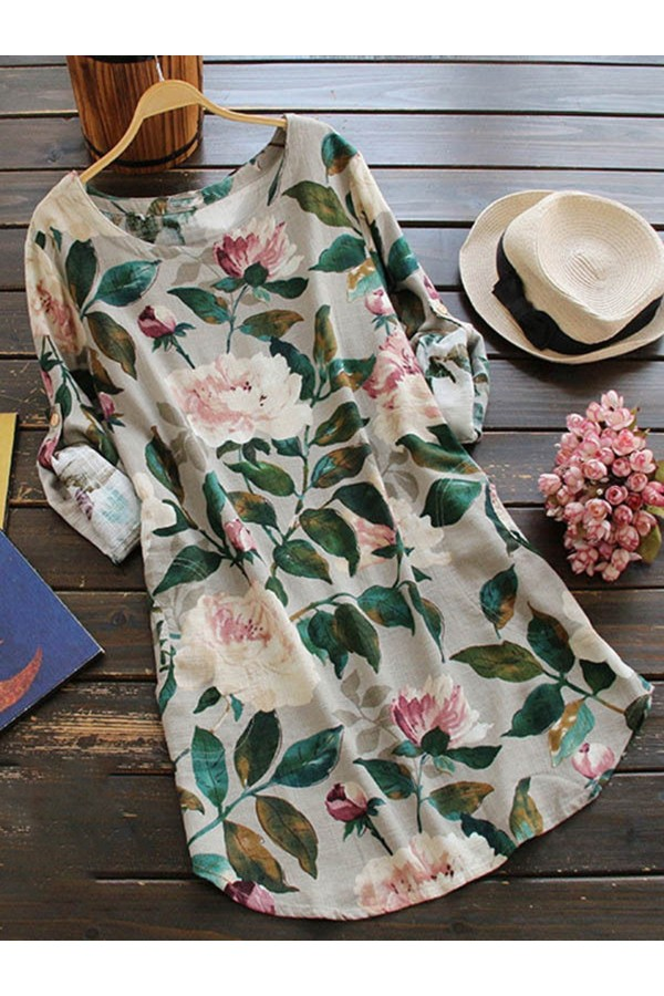Women's Long Sleeve Crew Neck FloralPrint Dress
