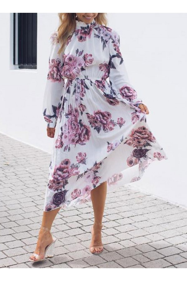 Lilac Floral Print High Frill Neckline Pleated Dress