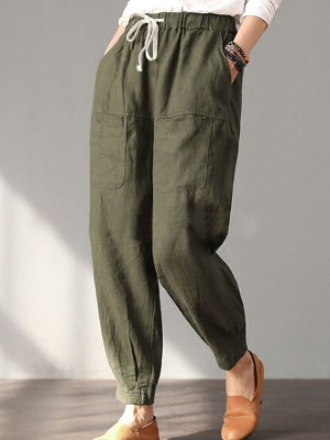 Hot Cotton Solid Pockets Vintage Linen Plus Size Casual Pants