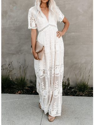 V Neck Lace Maxi Dress