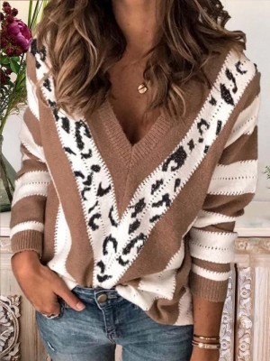 LeopardPrint Vneck Stripes Long Sleeve Casual Sweatshirt