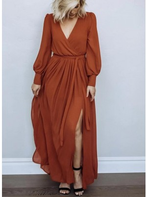 VNECK LONG SLEEVES BELTED MAXI DRESS IN RUST