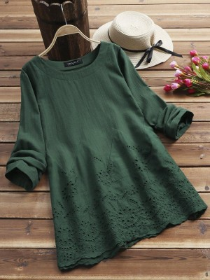 Hollow Long Sleeve Embroidered Oneck Vintage Blouse