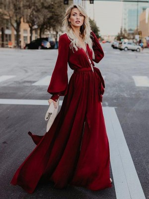 Vneck Long Sleeves Belted Maxi Dress