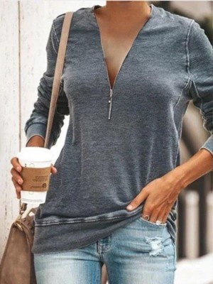Casual Daily Zipper Tshirt Plus Size