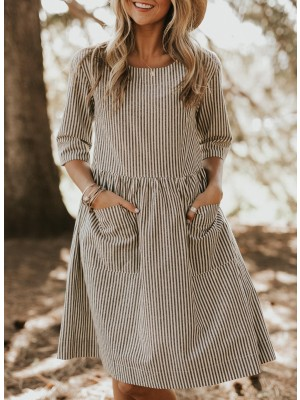Striped Hollis Pocket Midi Dresss