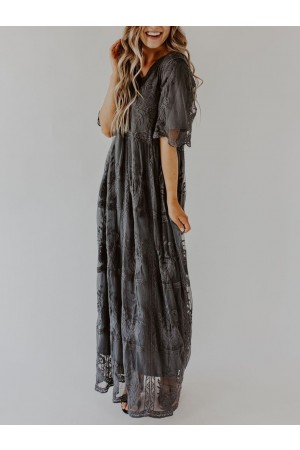 Sexy Lace Embroidered Maxi Dress