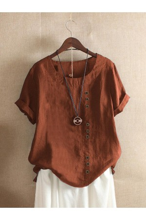 Solid Color Short Sleeve Button Summer Tshirt