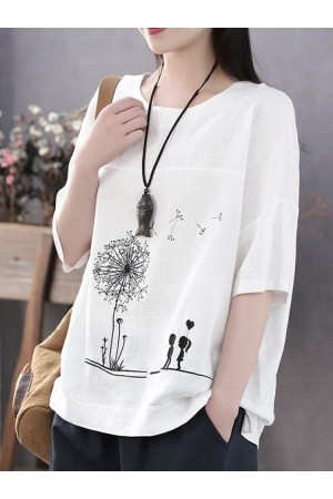 Summer Print Flower Casual Short Sleeve Cotton TShirt