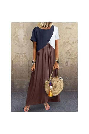 Casual Plus Size Stitching Color Maxi Dress