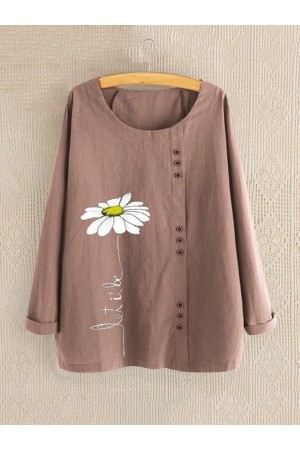 Cotton Shift Long Sleeve Floral Shirts & Tops