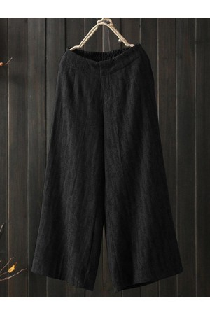 Wide Leg Solid Color Loose Elastic Waist Casual Pants