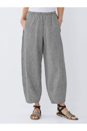 Casual Pockets Striped Pants