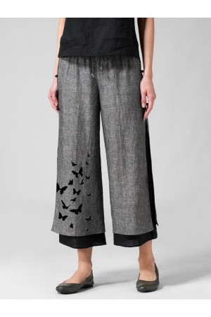 Butterflies Print Layered Frog Button Pants For Women