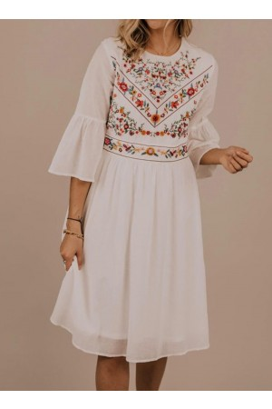 Bell Sleeve Embroidery Midi Dress