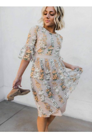 The Full Bloom Embroidered Floral Dress