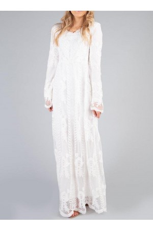 Pure Round Neck Lace Long Sleeve Maxi Dress
