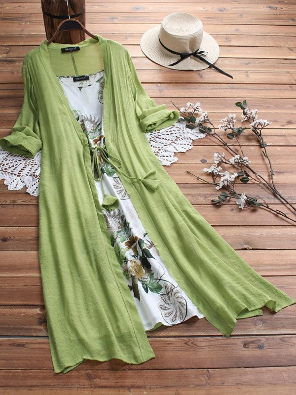Vintage Boho Print Lace Twopiece 3/4 Sleeve Dress