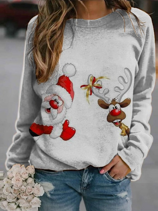 Christmas print crew neck sweatshirt