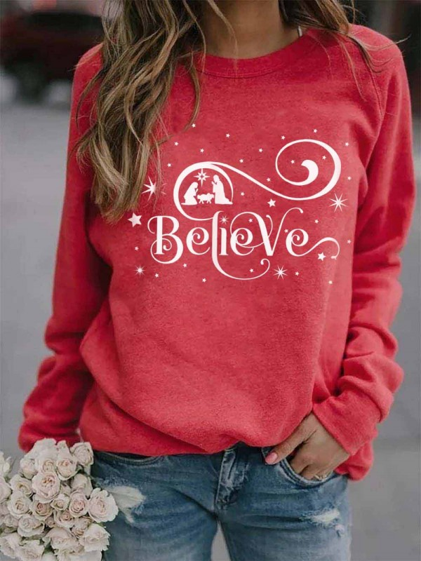 Ladies Christmas Believe Print Sweatshirt