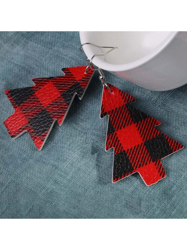 Women's Christmas Tree Check Leather Earrings