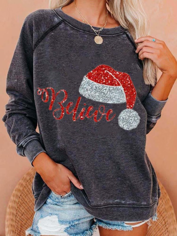 Women's Christmas Believe Print Sweatshirt