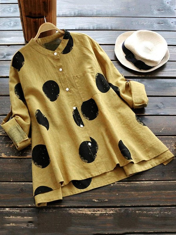Casual Polka Dot Long Sleeve Stand Collar Blouse