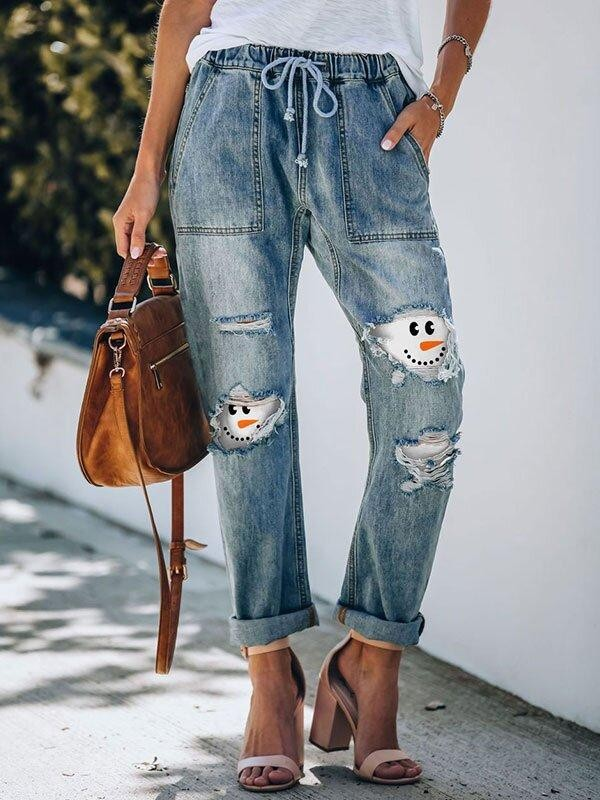 Ladies Christmas Snowman Smiley Face Printed Drawstring Ripped Jeans