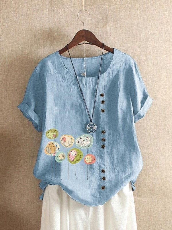 Button Cartoon Floral Print Short Sleeve Casual Tshirt