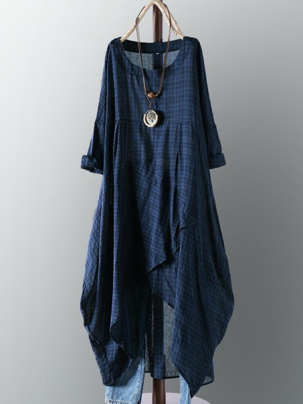 Vintage Plaid Crew Neck Long Sleeve Asymmetrical Dress