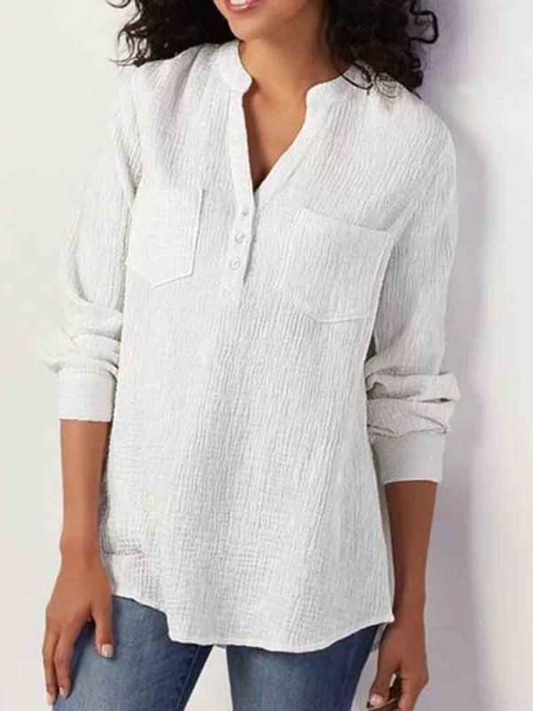Plain Regular Pocket Standard Nine Points Sleeve Blouse