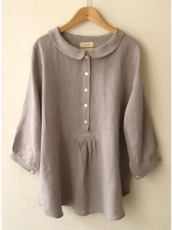 Women Summer Casual Long Sleeve Sweet Solid Blouse
