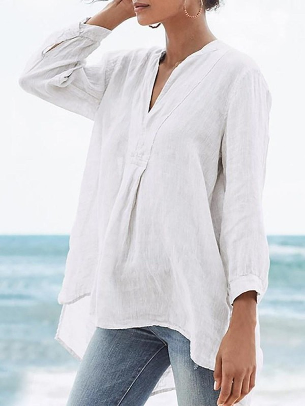 Asymmetric Plain VNeck MidLength Nine Points Sleeve Blouse