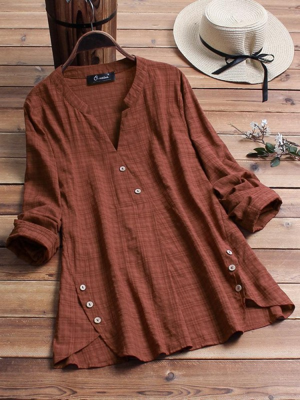 Vintage Plaid Side Button Vneck Long Sleeve Plus Size Shirt