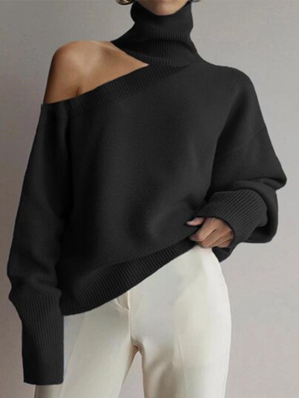 Fashion Highneck Casual Longsleeved Hollow Sweater