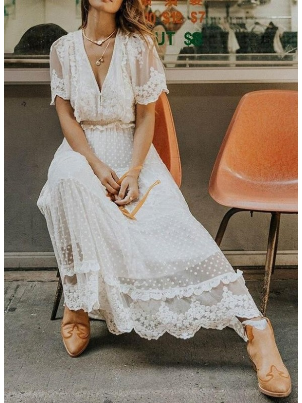 Lace/Solid Short Sleeves Aline Skater Elegant Maxi Dresses