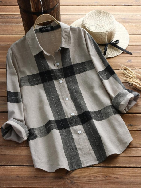 Vintage Plaid Long Sleeve Turndown Collar Shirt