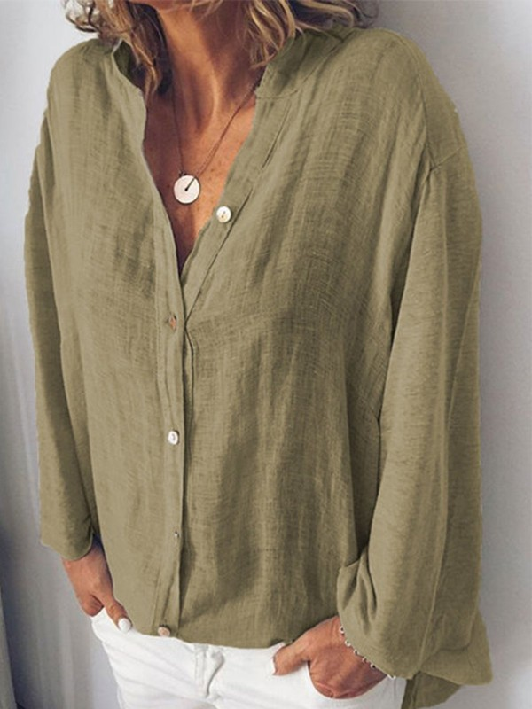 CottonBlend Sweet Long Sleeve V Neck Blouse