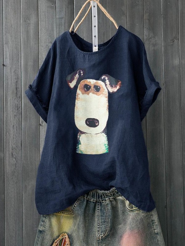 Cartoon Dog Print Short Sleeve Casual Tshirt For Women