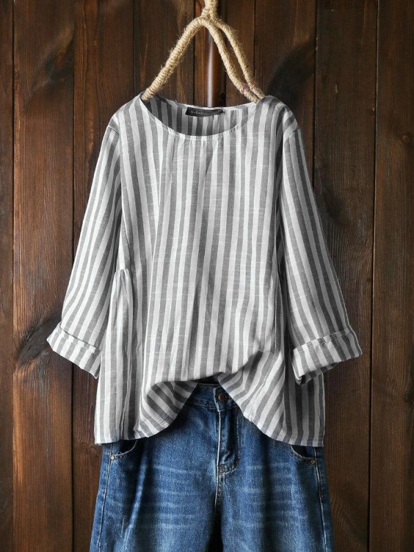 Vertical Striped Long Sleeve Crew Neck Shirt