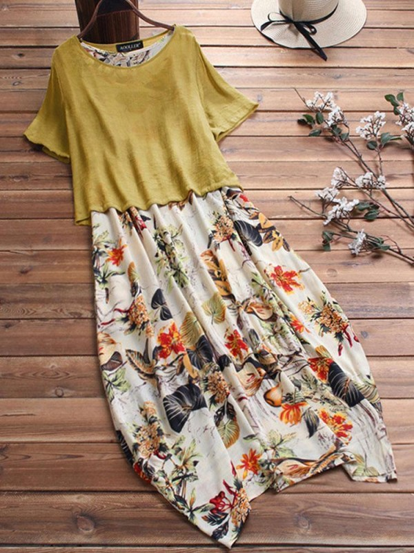 Literary Floral Twopiece Set Linen Dress