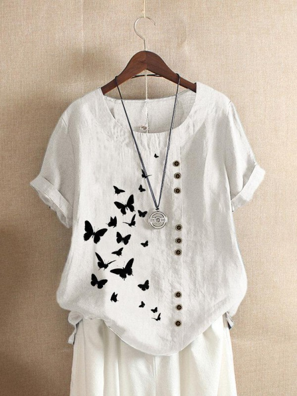 Butterflies Print Button Short Sleeve Casual Tshirt For Women