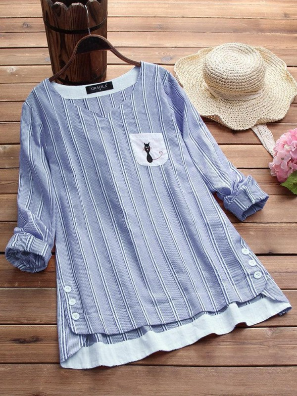Side Buttons Stripe Cat Embroidered Patchwork Vintage Blouse