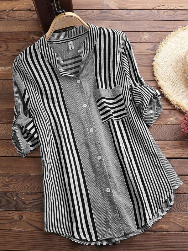 Patchwork Stripe Print Stand Collar Irregular Casual Shirt