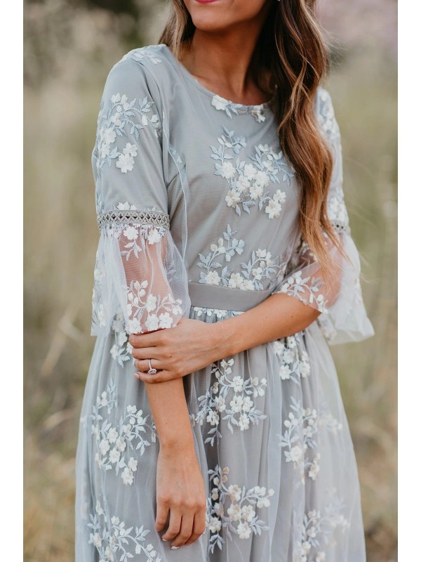 THE FULL BLOOM EMBROIDERED MIDI DRESS IN GREY