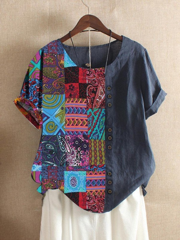 Folk Style Print Patchwork Short Sleeve Summer Tshirt