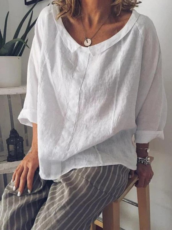 Lapel Solid Color Loose 3/4 Sleeve Casual Blouse